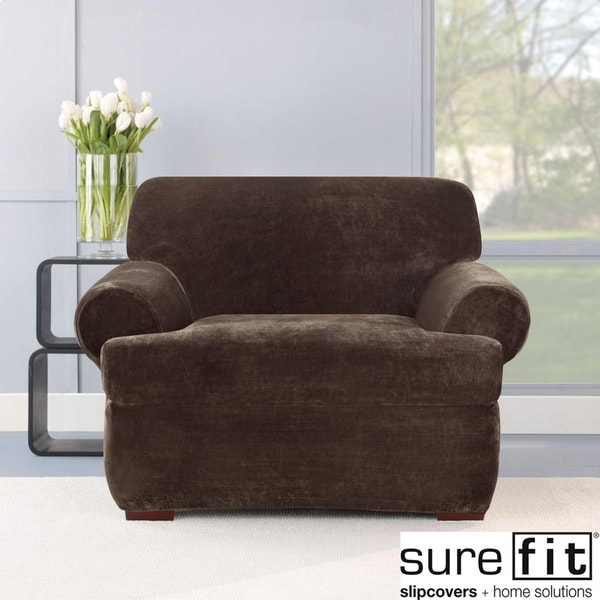 Sure Fit Stretch Plush Chocolate T-cushion Chair Slipcover
