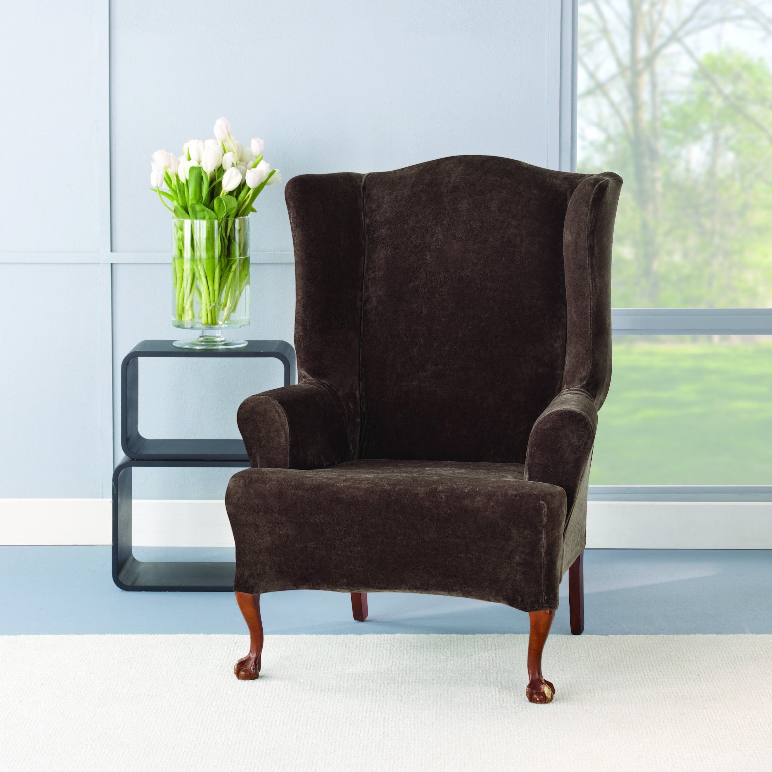 Astounding Sure Fit Stretch Plush Chocolate Wing Chair Slipcover Machost Co Dining Chair Design Ideas Machostcouk