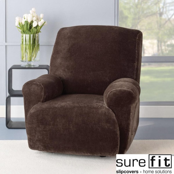 Sure Fit Stretch Plush Chocolate Recliner Slipcover