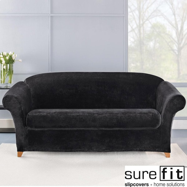 Sure Fit Stretch Plush Black Sofa Slipcover Free
