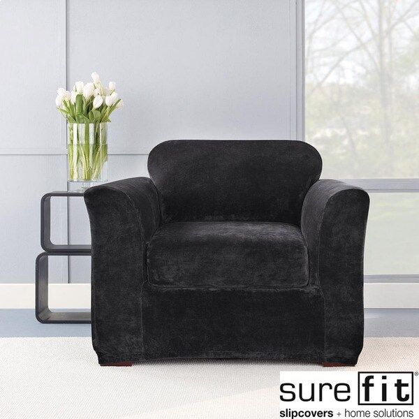 Sure Fit Stretch Plush Black Chair Slipcover - Free Shipping Today