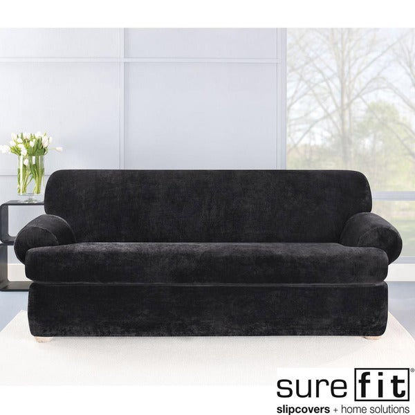 Sure Fit Stretch Plush Black T-cushion Sofa Slipcover