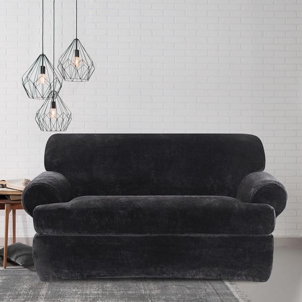 shop sure fit stretch plush black t cushion loveseat slipcover on rh overstock com IKEA Sofa Slipcovers sure fit stretch plush black t-cushion sofa slipcover