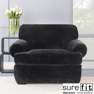 Sure Fit Stretch Plush Black T-cushion Chair Slipcover