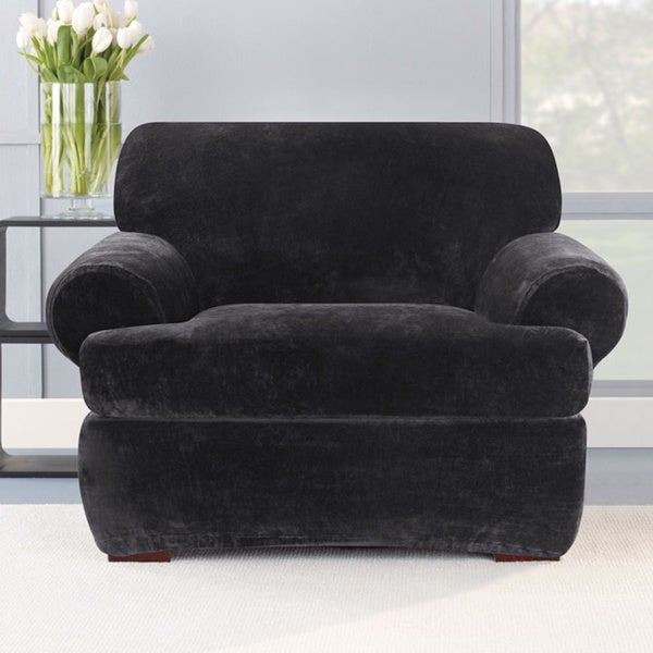 Sure Fit Stretch Plush Black T-cushion Chair Slipcover