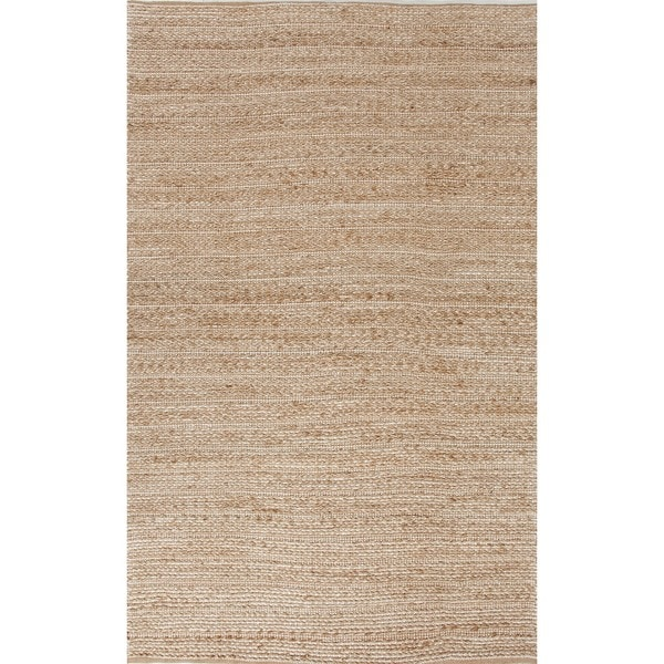 Natural Solid Jute/ Cotton Beige/ Brown Rug (8' x 10')
