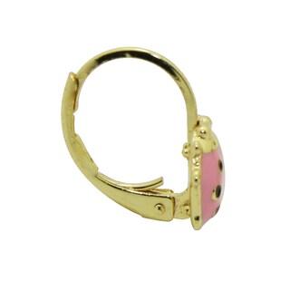 Junior Jewels 18k Yellow Gold Overlay Enamel Ladybug Leverback Earrings