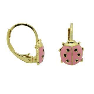 Junior Jewels 18k Yellow Gold Overlay Enamel Ladybug Leverback Earrings|https://ak1.ostkcdn.com/images/products/7539046/P14974173.jpg?impolicy=medium