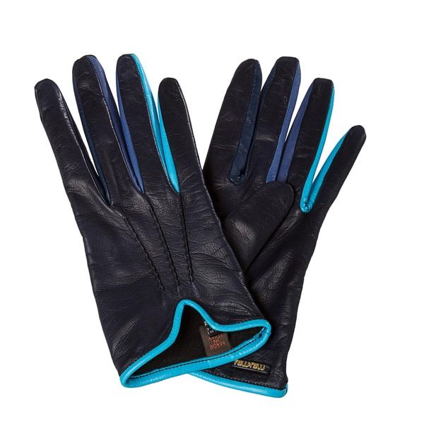 Miu Miu Women's Multi Blue Lambskin Pintucked Gloves