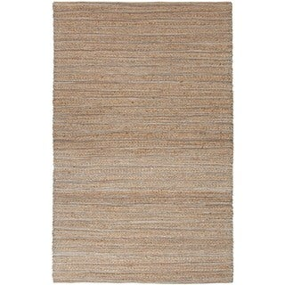 Solis Natural Solid Beige/ Blue Area Rug (5' X 8')