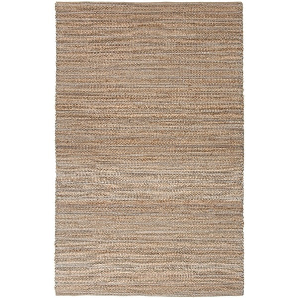 Natural Solid Jute/ Cotton Blue Rug (2'6 x 4')