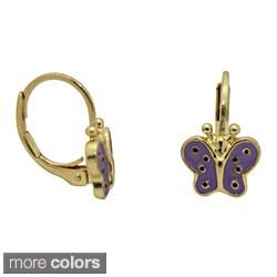 Junior Jewels 18k Yellow Gold Overlay Enamel Butterfly Leverback Earrings