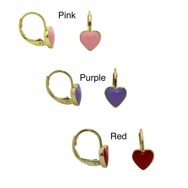 Junior Jewels 18k Yellow Gold Overlay Enamel Heart Leverback Earrings. Opens flyout.