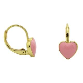 Junior Jewels Yellow Gold Overlay Enamel Heart Leverback Earrings