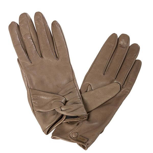 Prada Women's Taupe Lambskin Leather Knot Detail Gloves