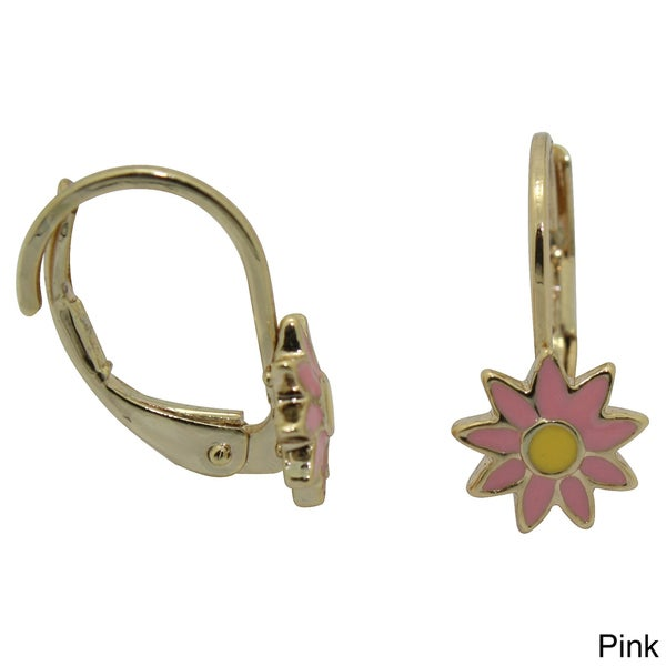Junior Jewels 18k Yellow Gold Overlay Enamel Sunflower Leverback Earrings