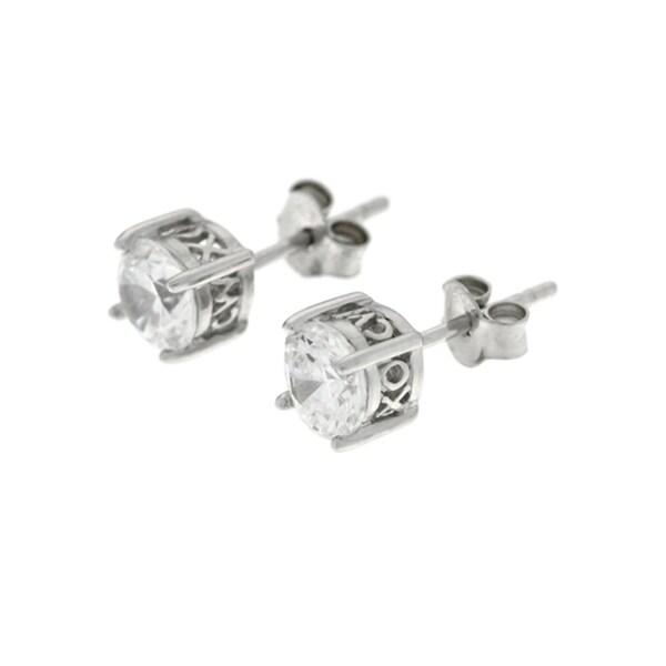 CW Sterling Silver Women's White Cubic Zirconia Stud Earrings