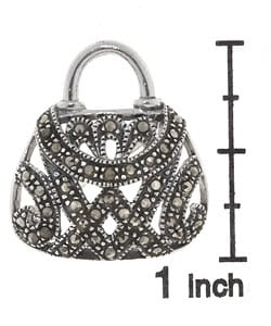 Glitzy Rocks Sterling Silver Marcasite Purse Pin