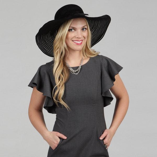 Swan Women's Black Velvet Ribbon Packable Floppy Hat