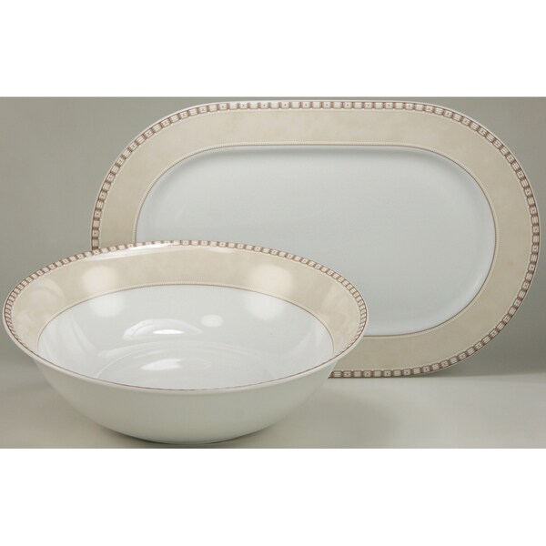 Create a Table European Two-Piece Oxford Decor Fine Porcelain Completer/Serving Set