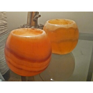 Handmade Set of 2 Alabaster Votives (Egypt)