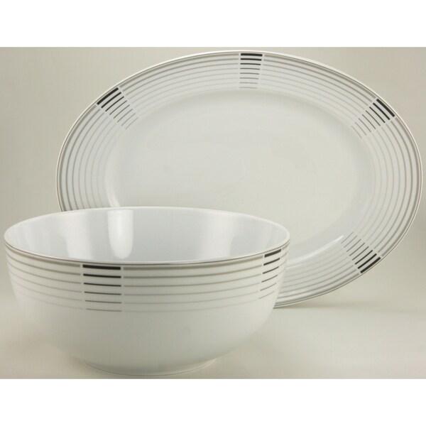 Create a Table European Two- Piece Fine Cosmopolitan Decor Porcelain Completer/Serving Set