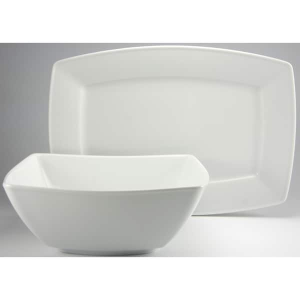 Create a Table European Two-Piece Carrara White Decor Fine Porcelain Completer/Serving Set