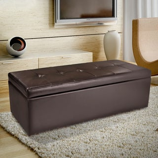 Christopher Knight Home Abigail Brown Bonded Leather Storage Ottoman Bench