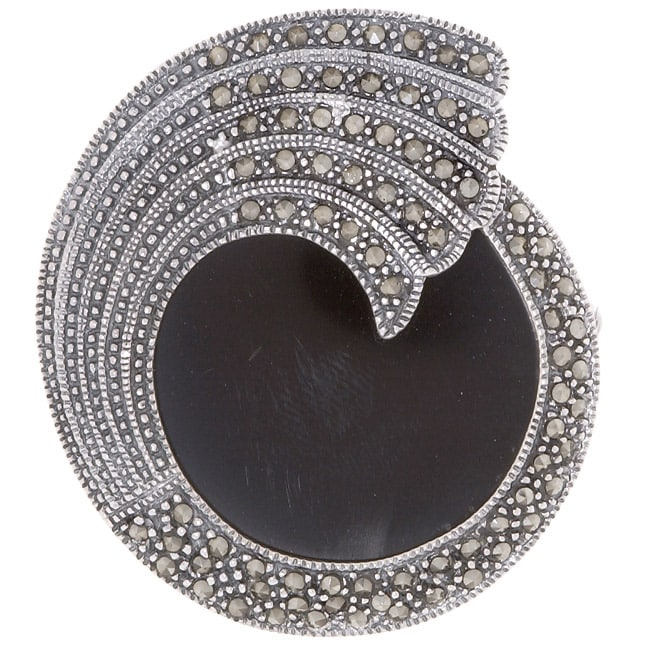 Glitzy Rocks Sterling Silver Marcasite and Onyx Pin