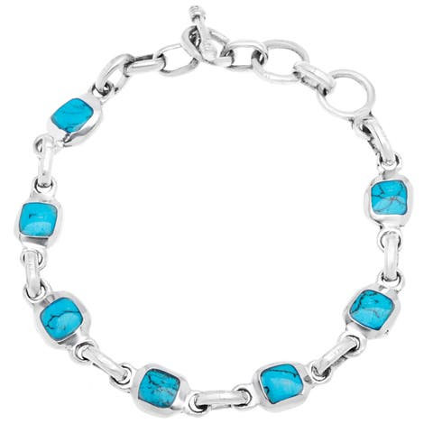 Handmade Mexican Alpaca Silver and Turquoise Cube Bracelet (Mexico)