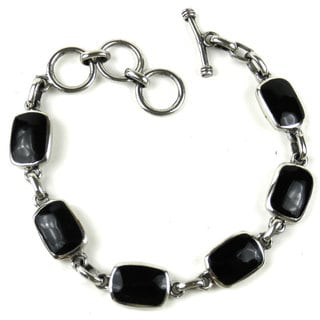 Handcrafted Mexican Alpaca Silver Alloy and Onyx Bracelet (Mexico)