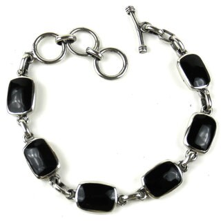 Handmade Mexican Alpaca Silver Alloy and Onyx Bracelet (Mexico) - Black