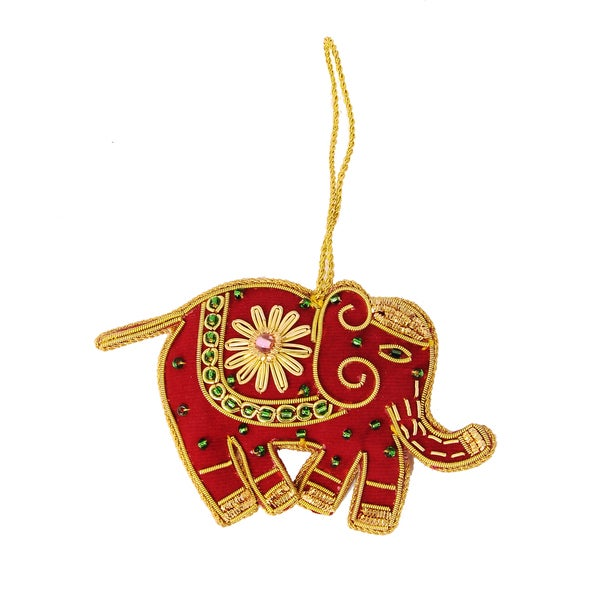Handcrafted Beaded Red Elephant Ornament (India)
