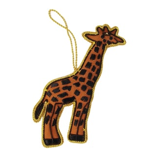 Handcrafted Embroidered Giraffe Ornament (India)