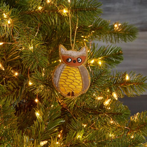Handmade Embroidered Owl Ornament (India)