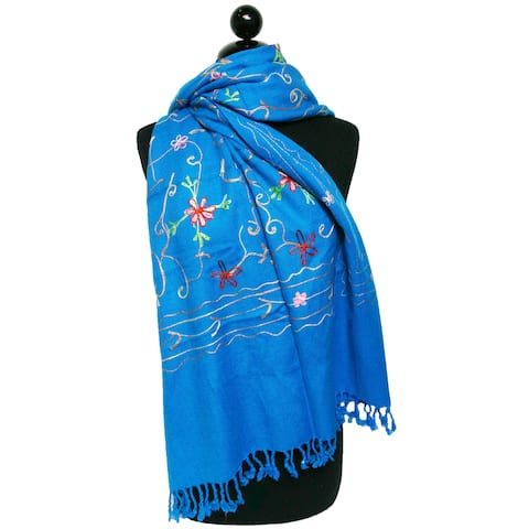 Peach Couture Embroidered Blue Shawl