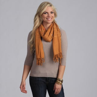 Peach Couture Tan Embroidered Shawl
