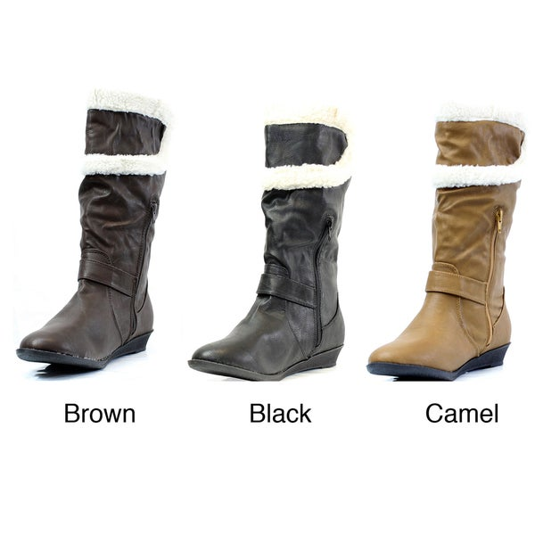 Stanzino Women's Faux Leather/ Shearling Mid-Calf Boots