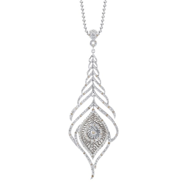 Victoria Kay Sterling Silver 1/4ct TDW Diamond Feather Necklace (J-K, I2-I3)