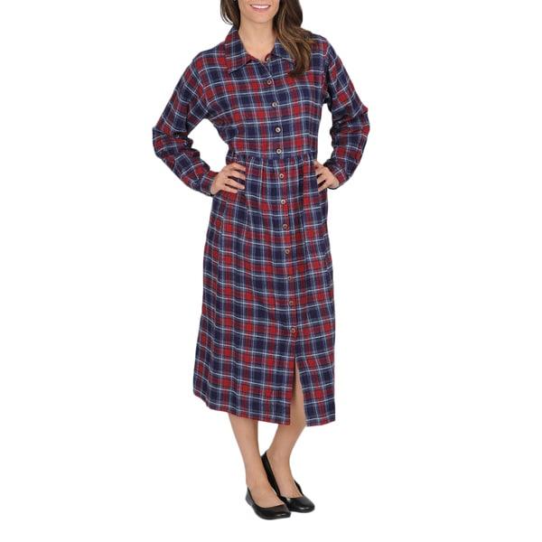 La Cera Women's Plaid Flannel Button-front Dress