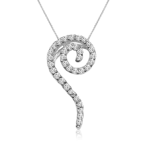 14k White Gold 1/3ct TDW Diamond Swirl Necklace (I-J, I1-I2)