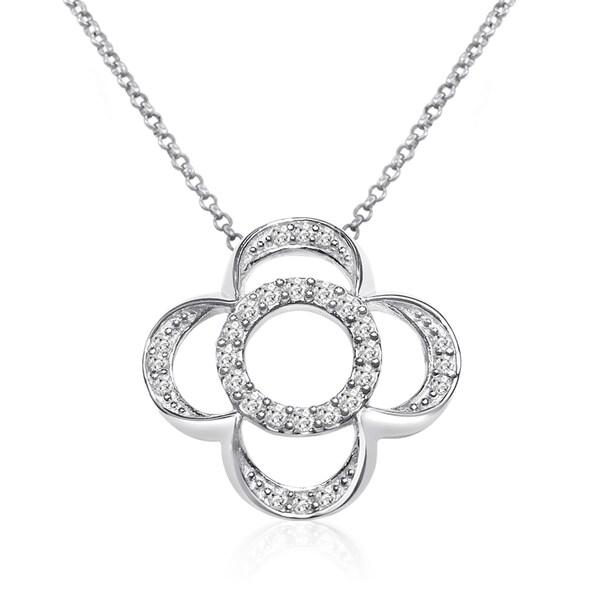 10k White Gold 1/4ct TDW Diamond Circle Flower Necklace