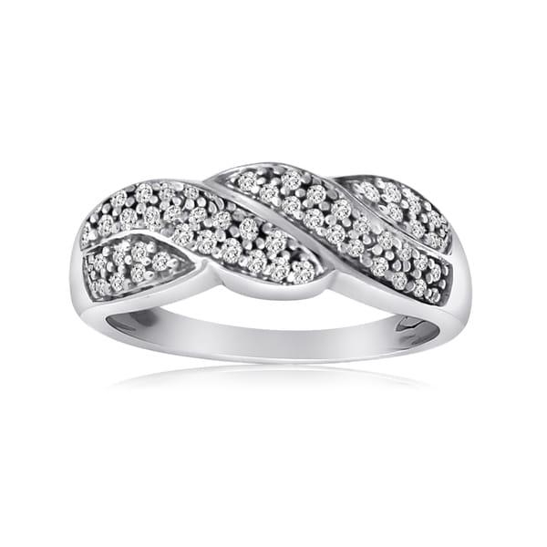 10k White Gold 1/4ct TDW Diamond Twist Ring (H-I, I1-I2)