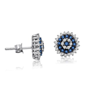 Sterling Silver 1ct TDW Blue and White Diamond Starburst Stud Earrings