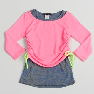 Sweetheart Jane Girl's Neon Pink Adjustable Long Sleeve Top