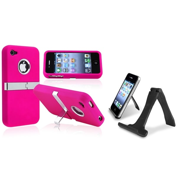 BasAcc Snap-on Case/ Mini Stand Holder for Apple iPhone 4/ 4S