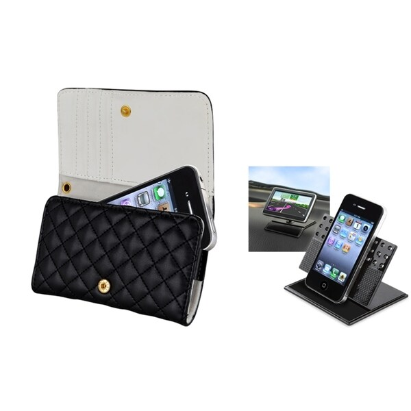 INSTEN Leather Wallet Phone Case Cover/ Phone Holder for Apple iPhone 4/ 4S