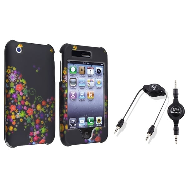BasAcc Rainbow Garden Black Case/ Audio Cable for Apple iPhone 3G/ 3GS