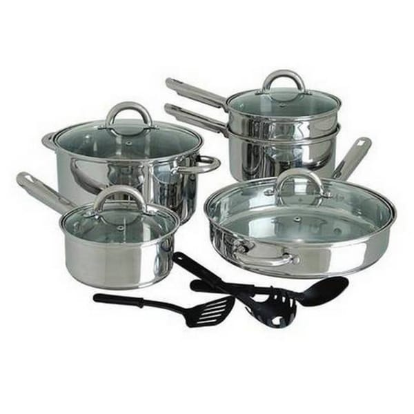 Cuisine select abruzzo 12 piece stainless steel cookware for Art and cuisine pans