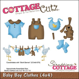 """CottageCutz Die 4""""X4""""-Baby Boy Clothes"""